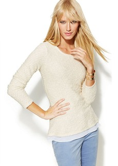 INC International Concepts Petite Three-Quarter-Sleeve Layered-Look Sweater