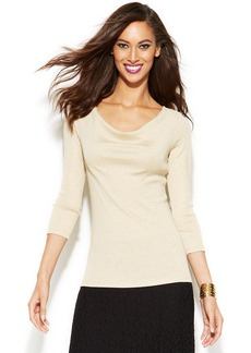 INC International Concepts Petite Three-Quarter-Sleeve Metallic Top