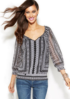 INC International Concepts Petite Three-Quarter-Sleeve Printed Peasant Top