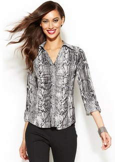 INC International Concepts Petite Three-Quarter-Sleeve Snake-Print Ruched Shirt