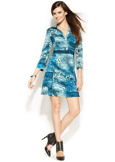 INC International Concepts Petite Three-Quarter-Sleeve Snakeskin-Print Dress