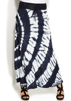 INC International Concepts Petite Tie-Dye Tiered Crochet Drawstring Maxi Skirt