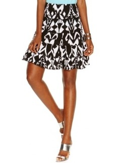 INC International Concepts Petite Tiered Ikat-Print Flare Skirt