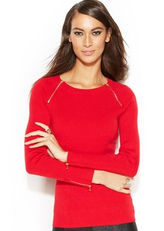 INC International Concepts Petite Zippered Boat-Neck Ribbed Sweater