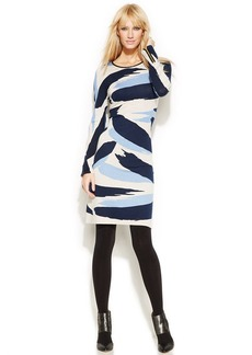 INC International Concepts Petite Zippered-Sleeve Printed Sweater Dress