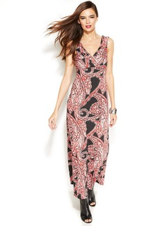 INC International Concepts Petites, Pleated Printed Maxi Dress