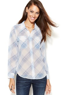INC International Concepts Plaid Button-Front Shirt