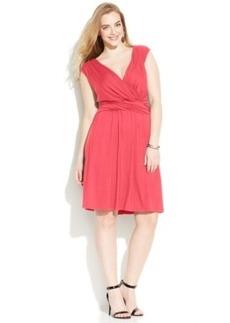 INC International Concepts Plaus Size Ruched Surplice Dress