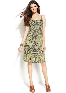 INC International Concepts Pleated Printed A-Line Dress