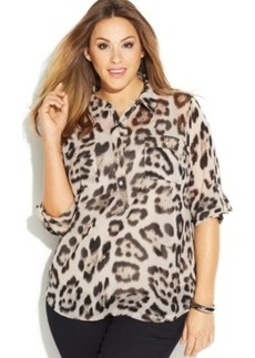 INC International Concepts Plus Size Animal-Print Shirt