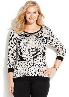 INC International Concepts Plus Size Animal-Print Sweater