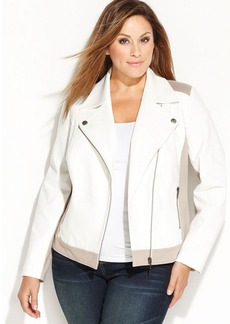 INC International Concepts Plus Size Asymmetrical Ponte Moto Jacket