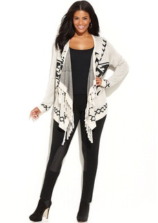 INC International Concepts Plus Size Aztec-Knit Fringed Sweater
