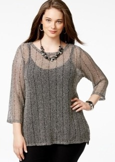 Inc International Concepts Plus Size Beaded Open-Knit Sweater, Only at Macy's