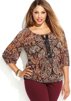 INC International Concepts Plus Size Beaded Printed Keyhole Top