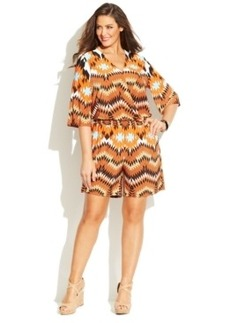 INC International Concepts Plus Size Bell-Sleeve Printed Romper