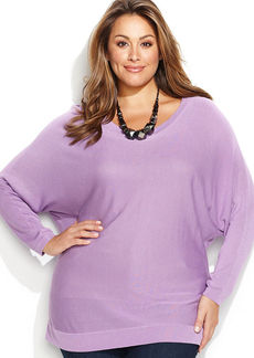 INC International Concepts Plus Size Boatneck Dolman Sweater