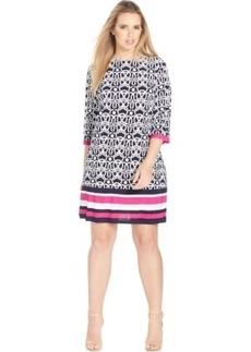 Inc International Concepts Plus Size Border-Print Shift Dress