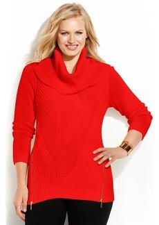 INC International Concepts Plus Size Cable-Knit Zipper Sweater