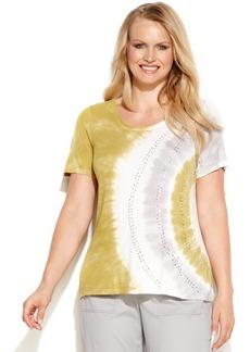 INC International Concepts Plus Size Cap-Sleeve Embellished Tie-Dye Tee