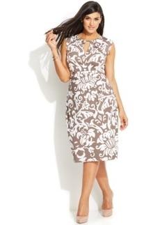 INC International Concepts Plus Size Cap-Sleeve Printed Keyhole Dress