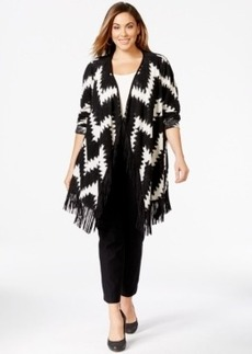 Inc International Concepts Plus Size Chevron-Pattern Fringe Cardigan, Only at Macy's