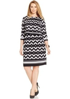 Inc International Concepts Plus Size Chevron-Print Popover-Bodice Dress, Only at Macy's