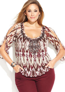 INC International Concepts Plus Size Cold-Shoulder Embroidered Peasant Top