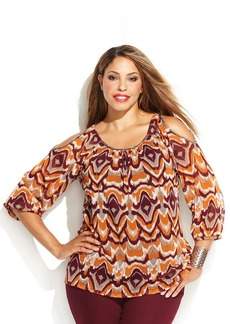 INC International Concepts Plus Size Cold-Shoulder Printed Peasant Top