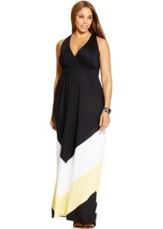 INC International Concepts Plus Size Colorblocked Maxi Dress