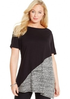Inc International Concepts Plus Size Colorblocked T-Shirt, Only at Macy's