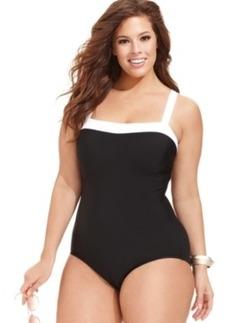 Inc International Concepts Plus Size Contrast-Trim One-Piece Swimsuit Women's Swimsuit