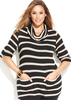 INC International Concepts Plus Size Cowl-Neck Striped Tunic Sweater