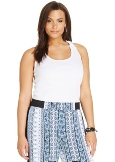 INC International Concepts Plus Size Crochet-Back Tank Top