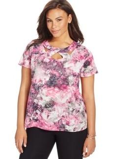 Inc International Concepts Plus Size Cutout-Neck Floral-Print Top
