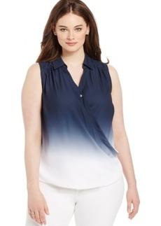 Inc International Concepts Plus Size Dip-Dyed Faux-Wrap Blouse