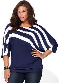 INC International Concepts Plus Size Dolman-Sleeve Striped Top