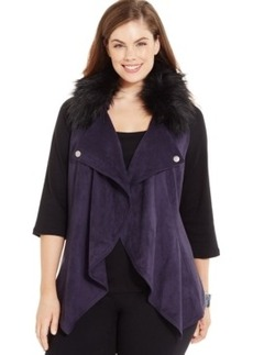 Inc International Concepts Plus Size Drape-Front Faux-Fur-Collar Vest, Only at Macy's