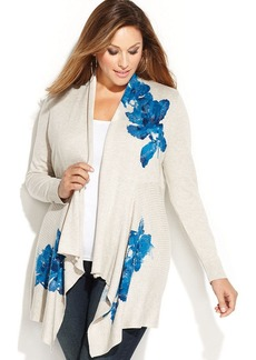 INC International Concepts Plus Size Draped Floral-Print Sequined Cardigan