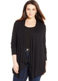 Inc International Concepts Plus Size Draped Open-Front Cardigan