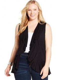 Inc International Concepts Plus Size Draped Ruffle-Trim Open Vest