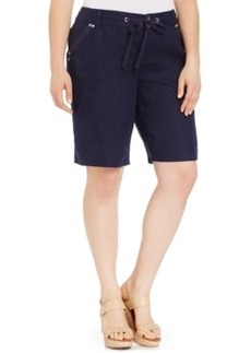 Inc International Concepts Plus Size Drawstring-Waist Bermuda Shorts