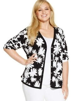 INC International Concepts Plus Size Elbow-Sleeve Floral-Print Cardigan