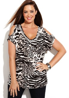 INC International Concepts Plus Size Embellished Animal-Print Cold-Shoulder Top