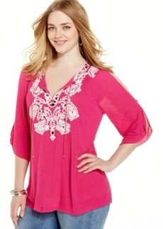 INC International Concepts Plus Size Embellished Peasant Top