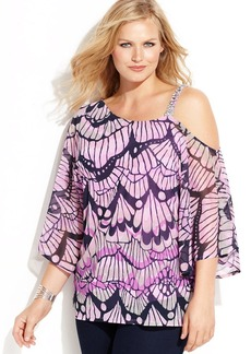 INC International Concepts Plus Size Embellished Printed Asymmetrical Top