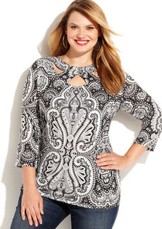 INC International Concepts Plus Size Embellished Printed Cutout Top