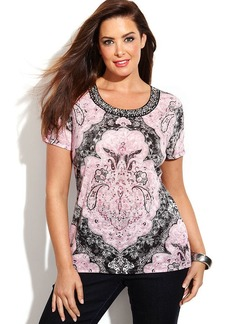 INC International Concepts Plus Size Embellished Printed Top