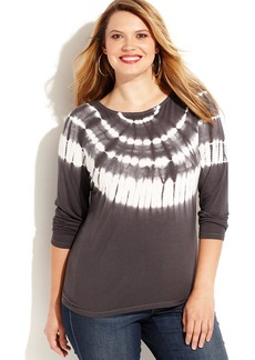 INC International Concepts Plus Size Embellished Tie-Dye Top