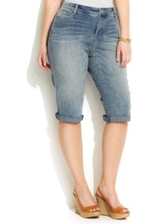 INC International Concepts Plus Size Embroidered Denim Bermuda Shorts